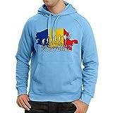 N4514H Hoodie Evolution Football - Romania (Large Blue Multicolor)
