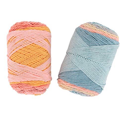 020 Yarn (Radish Stars Variety Colored Assortment Super Soft Ball Yarn Set of 2 Cotton Segment Dyeing Acrylic Solid Knitting Yarn for DIY & Handicraft (Color 020+025))