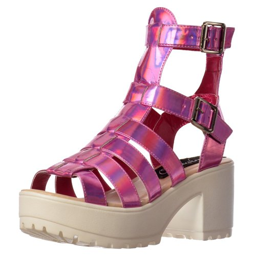 Onlineshoe Women's Cut Out High Ankle Strappy Buckles Gladiator Summer Sandals Pink Hologram UK7 - EU40 - US9 - AU8
