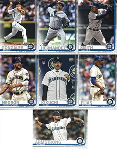 2019 Topps Series 2 Baseball Seattle Mariners Team Set of 7 Cards: Shawn Armstrong(#517), Marco Gonzales(#523), Roenis Elias(#628), Yusei Kikuchi(#632), Kristopher Negron(#638), Mallex Smith(#669), Felix Hernandez(#699)