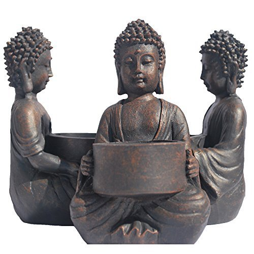 WHW Whole House Worlds Global Chic Museum Quality Baby Buddha Tea Light Holders, Set of 6, Featuring Antiqued Patina Made of Cast Poly Resin, 5 Inches Tall
