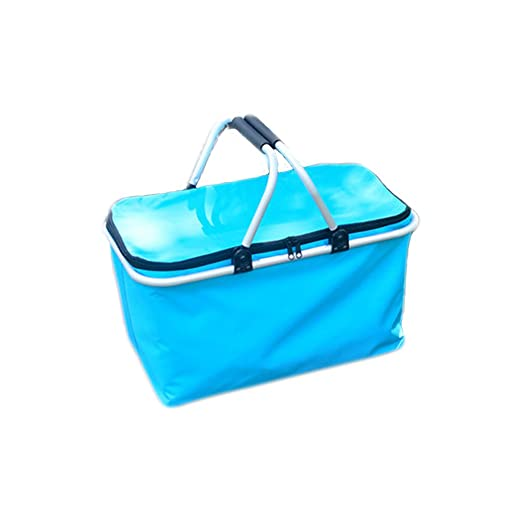 Funnuf Large Family Size Picnic Insulated Basket Collapsible Folding Bag for Picnic Camping Outdoor Events - Blue