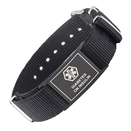 - linnalove Cool Black Sports Canvas Band Medical Alert id Bracelets -Diabetes ON Insulin