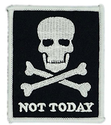 NOT TODAY SKULL Patch Funny Saying Text Words Logo Humor Theme Series Embroidered Sew/Iron on Badge DIY Appliques -