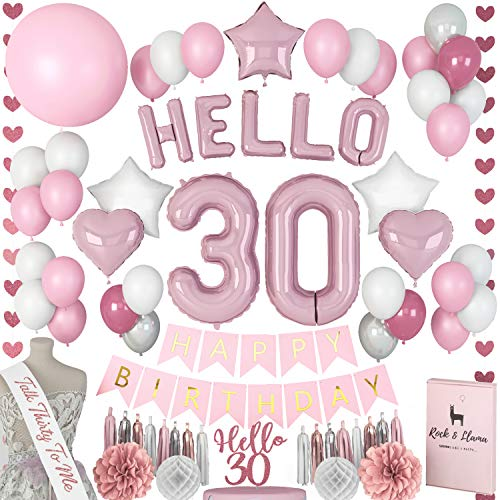 STUNNING 30th Birthday Decorations + (TALK 30 SASH) + (HELLO Letter Balloons) + (Thirty Cake Topper) | Rose Gold Pink Fuchsia BDay Party Supplies for Her | (71+ Items)