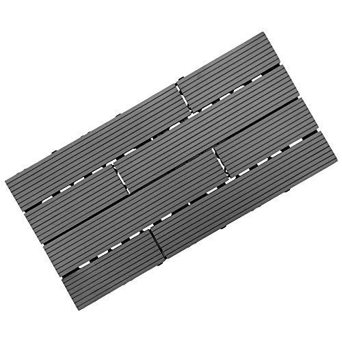 "Samincom Deck Tiles Interlocking Wood-Plastic Composites Patio Pavers, Water Resistant Flooring Tiles Indoor Outdoor, 12""× 24"", Pack of 11 (22 sq.ft) - Stripe 8 Slat, Dark Grey"