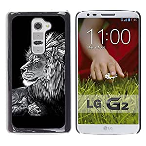 Caucho caso de Shell duro de la cubierta de accesorios de protección BY RAYDREAMMM - LG G2 D800 D802 D802TA D803 VS980 LS980 - Black White Art Drawing Lion Big Feline