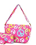 Belvah Quilted Peace Sign Messenger Bag - Choice of Colors (FS/Multi)