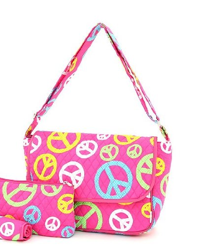 Belvah Quilted Peace Sign Messenger Bag - Choice of Colors (FS/Multi) by Belvah