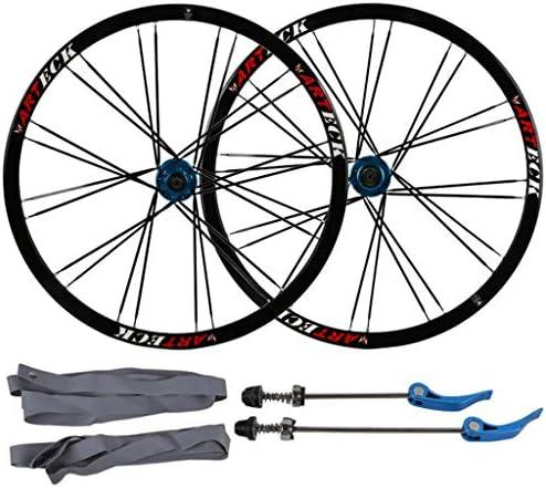 """MTB 自転車ホイールセット26"""" マウンテンバイク用 ダブルウォールリム ディスクブレーキ 7-10スピード カードハブ クイックリリース 24H"""