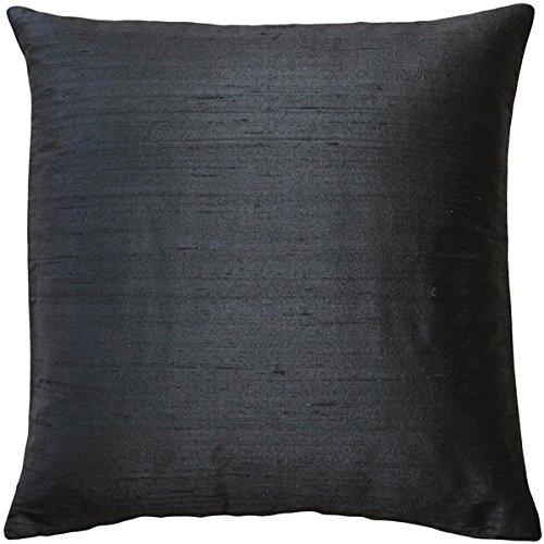 Pillow Decor Sankara Black Silk Throw Pillow 16x16 (Throw Silk Cushion)