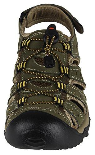iLoveSIA Hombre Cuero Sandalias Deporte Zapato verde