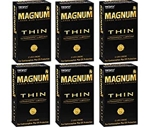Trojan Magnum gXwoO Thin, 12 Count (Pack of 6) Brcjw
