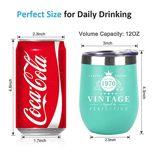 HDCOOL-Birthday-Gifts-for-Women-and-Men-1970-50th-Birthday-Decorations-12oz-Wine-Tumbler-Double-Wall-Vacuum-Cup-with-Lid-Ideas-Gifts-for-Her-Mom-Dad-Wife-Husband-Mint-Green