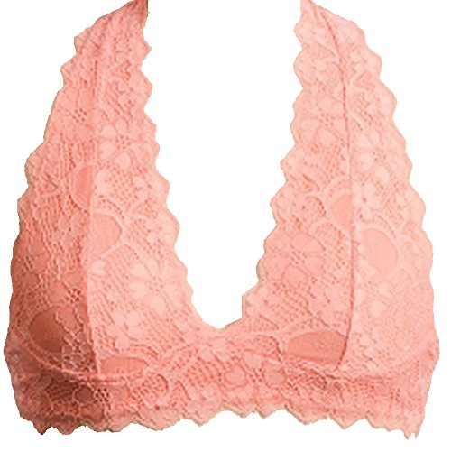 Peach Scalloped (Marilyn & Main Women's Scalloped Lace Halter Bralette (Small, Peach))