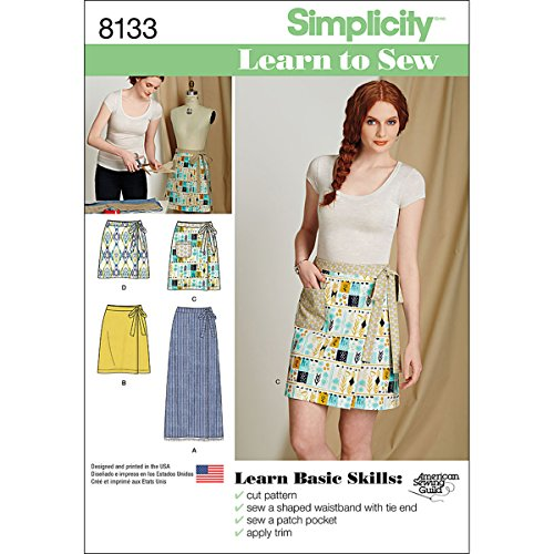 Simplicity 8133 Easy to Sew Women's Wrap Skirt Sewing Patterns, Sizes 6-18 ()