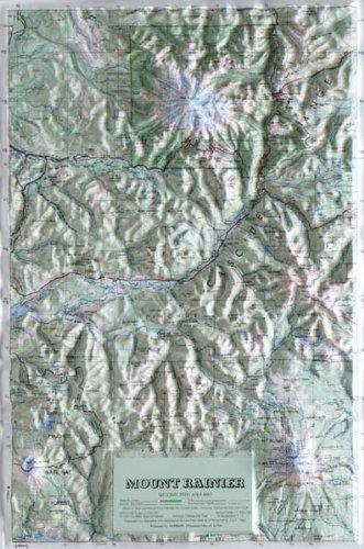 MT. RAINIER NATIONAL PARK Raised Relief Map with Oak Wood Frame