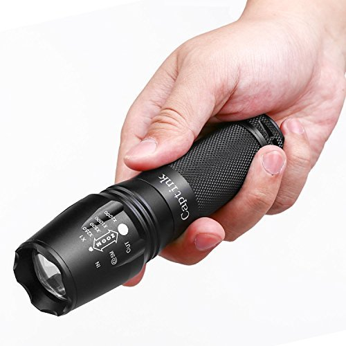 Captink T6 Outdoor waterproof tactical flashlight,Adjustable Focus Torch, 5 Modes,CREE Led Flashlights