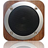 Sun Schnee Wireless Bluetooth Speaker Stereo Wooden Speaker for Computers&Smartphones Portable Desktop Speaker with FM Radio, Built-in Rechargeable Battery, AUX and TF Card 4x4 Inches Brown Walnut
