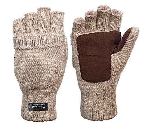 Metog Suede Thinsulate Thermal Insulation Mittens Beige L