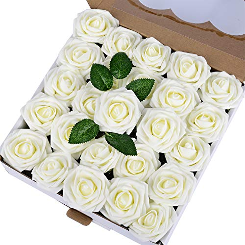Breeze Talk Artificial Flowers 50pcs Ivory Roses Realistic Fake Roses w/Stem for DIY Wedding Bouquets Centerpieces Arrangements Party Baby Shower Home Decorations (50pcs Ivory)]()