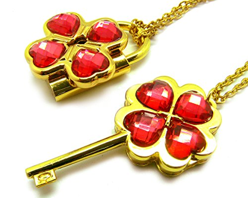 Shugo Chara! / Guardian Characters! Necklace with Light Red Gem Key Lock Pendan
