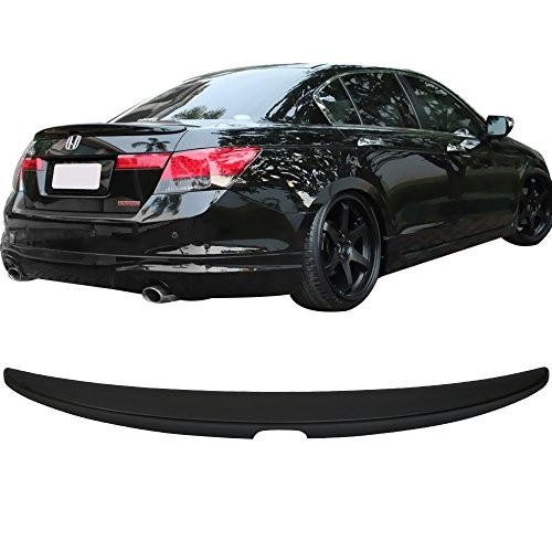Trunk Spoiler Fits 2008-2012 Honda Accord | Factory Style Unpainted Raw Material Black ABS Rear Tail Lip Deck Boot Wing by IKON MOTORSPORTS | 2009 2010 - Accord Deck Honda