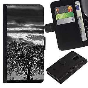 Protector de cuero de la PU de la cubierta del estilo de la carpeta del tirón BY RAYDREAMMM - Samsung Galaxy S5 Mini, SM-G800 - Árbol de la tormenta