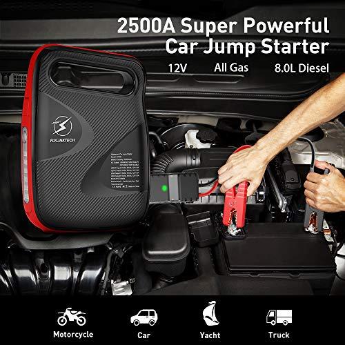 FLYLINKTECH 2500A Arrancador de Coche, 24000mAh Arrancador de Baterias de Coche para Toda la Gasolina o 8.0L Diesel Arranque Batería Jump Starter 12V con Pinzas Inteligentes