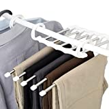 5 in 1 Stainless Steel Multi-Purpose Pants Hangers Jeans Clothes Organizer Folding Storage Rack Space Saver Storage Rack for Hanging