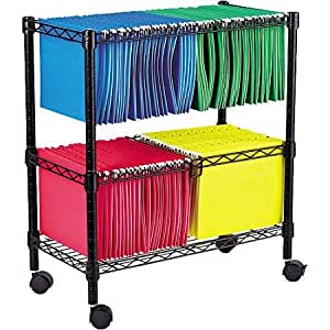 Amazon Com Alera Two Tier Rolling File Cart 26 Quot W X14 Quot D X