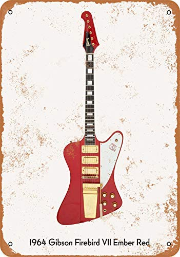 Guitar Art - Vintage Look Metal Sign Wall Décor - 1964 Gibson Firebird VII Ember Red Wall Plaque Sign 12X18 Inch