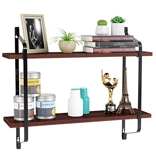 MVPower Floating Shelves Wall Mounted, Rustic Wood Wall Storage Rack for Pantry Bedroom Bathroom Kitchen Decor, 2 Tier Shelf for Organizer Carbonized Brown (Best Floating Shelves For Kitchen)