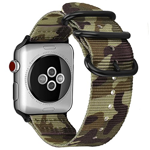 Fintie Band for Apple Watch 44mm 42mm, Lightweight Breathable Woven Nylon Sport Loop Wrist Strap with Metal Buckle - Camo (Camouflage Buckle)