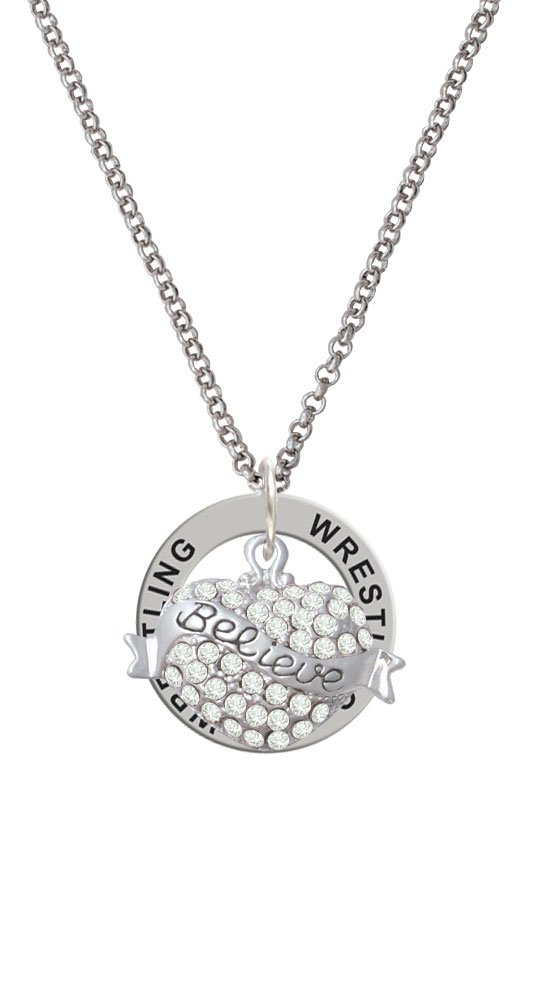 Believe Banner on Clear Crystal Heart - Wrestling Affirmation Ring Necklace