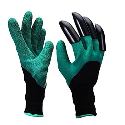 Garden Genie Gloves with Right Sturdy Claws Quick Easy to Dig and Plant Safe for Rose Pruning Waterproof Unisex Mittens by Vainl