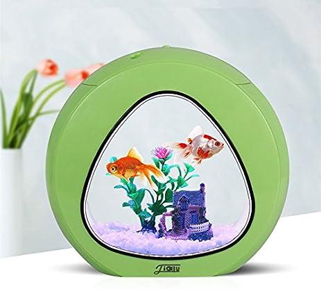 Mini Fish Tank Integration Filter LED Light System Office Tabletop Aquariums  (Green)