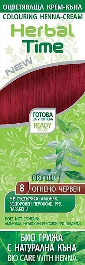 Herbal Time Henna Natural Colorante en Crema, Color Rojo Ardiente 8 Sin Amoniaco, Sulfatos y Parabenos