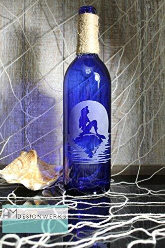 Etched Floral Vase - Fully Hand Etched Mermaid Floral Cobalt Blue Wine Bottle Vase