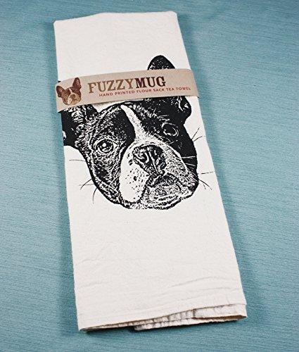 Boston Terrier Tea Towel in Black - Hand Printed Flour Sack Tea Towel, Dish Towel, Kitchen Towel (Terrier Kitchen Towel)