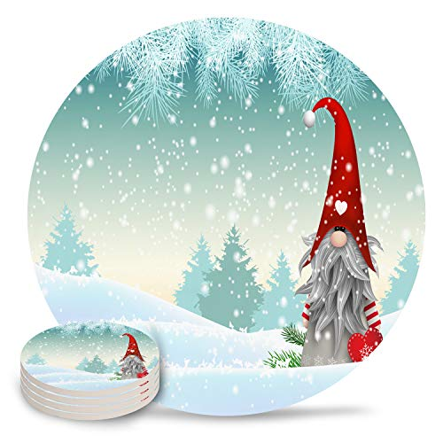 6 Pack Set Coasters for Drinks Absorbent Coaster Placemat, Man Cave Housewarming Hostess Gifts, Wedding/Living Room Decor, Cool Gift Ideas - Christmas Gnome Named Tomte Standing in Winter (Party Gifts Christmas Hostess)