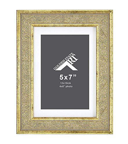 Golden State Art 5x7 Frame for 4x6 Photo with White Mat, Table-Top Easel Stand, Real Glass (Vertical + Horizontal) (Light Gold Pewter with Ornate Panel)