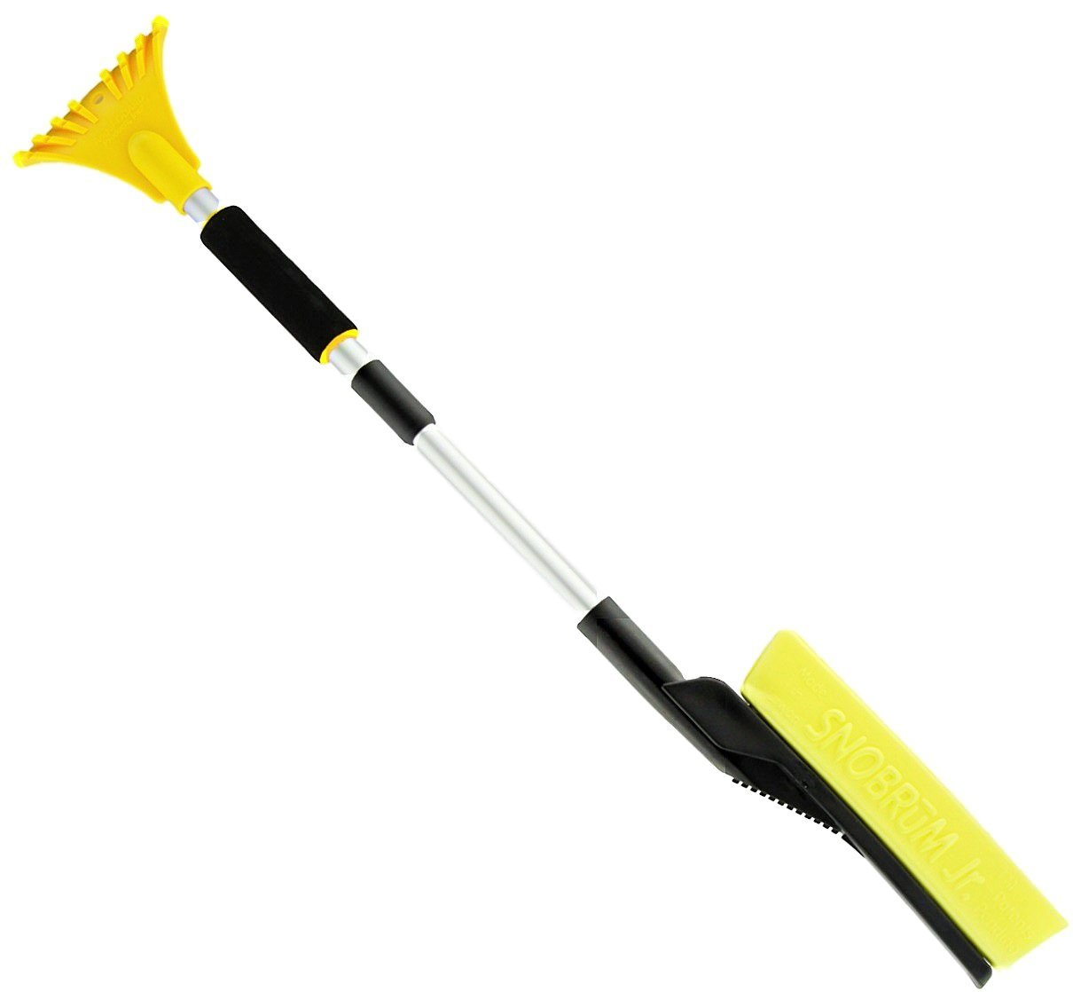 SnoBrum Jr. Snow Removal Tool 27'' to 33.5'' with Extending Handle- Remove snow from vehicles and more without scratching