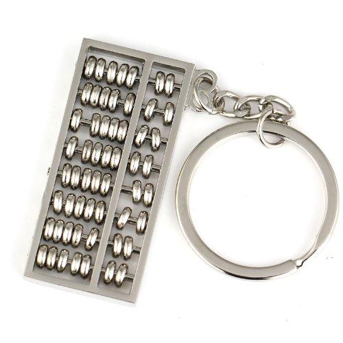 Maycom® Creative estilo chino Spinning Abacus Llavero Clave Anillo Cadena Llavero Keyfob, Plateado, 1