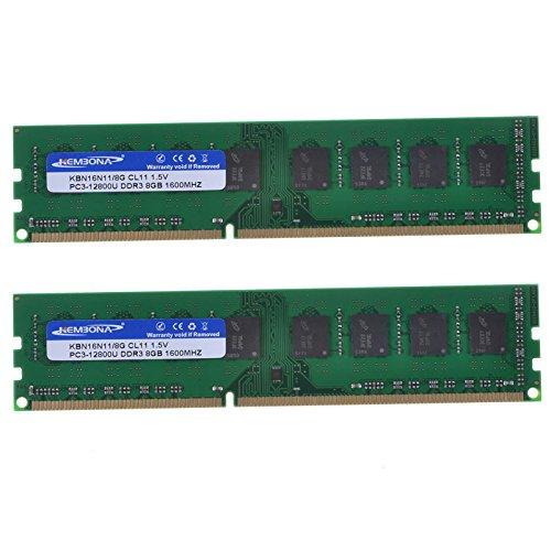 - Kembona Desktop RAM DDR3 Ram 16GB Kit (2x8GB) 1600MHz PC3-12800 DDR3 16G Non-ECC CL11 DIMM 240-Pin 1.5 V Memory Module Low-Density Full Compatible