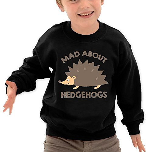 Price comparison product image Puppylol MAD About Hedgehogs Kids Classic Crew-Neck Pullover Hoodie Black 3 Toddler