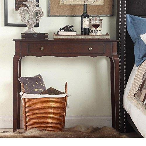 Cottage Style Wood Narrow End Sofa Console Accent Table with Storage Drawer - (Espresso) (Cottage Style Sofa)