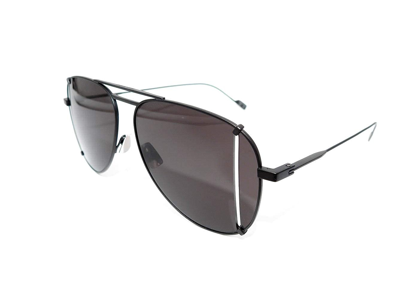 a3f5bfd947abf Amazon.com  Saint Laurent SL 193 T Cut 002 Black Metal Aviator Sunglasses  Grey Lens  Clothing