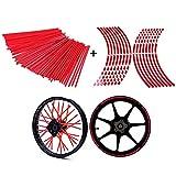 POSSBAY 72Pcs Wheel Spoke Skins Wraps + 16Pcs Wheel Rim Reflective Sticker Tape 17''-19''