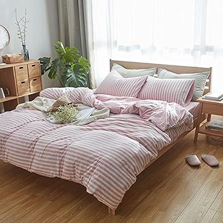 100% algodón tela de Jersey con juego de cama 4pcs MUJI estilo rayas funda de edredón: Amazon.es: Hogar